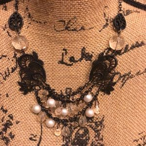 Unique bead & pearl statement necklace